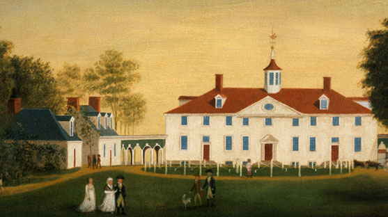 The painting of The West Front of Mount Vernon is attributed to Edward Savage dated between 1787 and 1792.