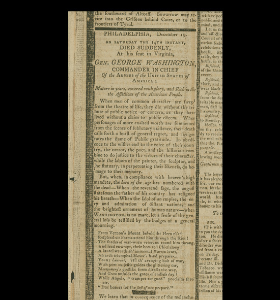 Newspaper notice of George Washington's death, 1799.