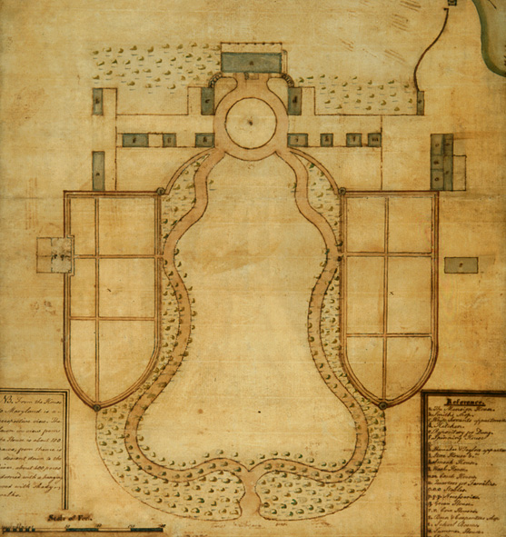 Plan of Mount Vernon by Samuel Vaughan, 1787