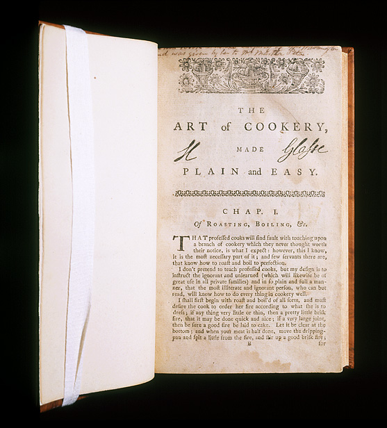 Book titled The Art of Cookery by Hanna Glasse
