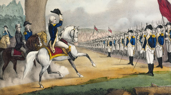 Washington on a white horse saluting to the American Army with his hat.