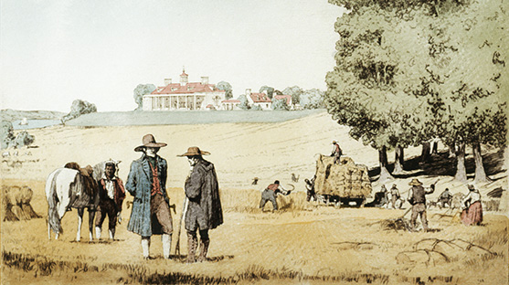 Farmers tending to the land in the forefront with Mount Vernon in the background.
