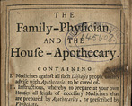 Title page of THe Family Physician and the House Apothecary