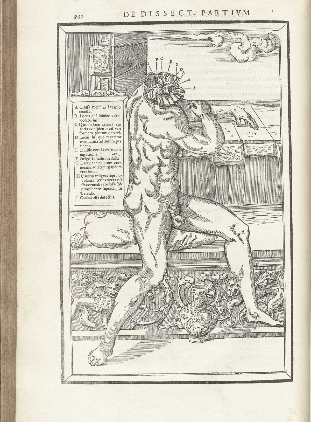 Woodcut Of A Nude Male Figure Seated On A Classically Decorated Marble  Bench Facing To The