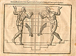 Woodcut illustration of two nude male anatomical figures descending stairs, viewed from front and back, both images in identical poses facing each other with both hands uplifted with hands open, with the left hand image showing the proportions of the figure measured out, from Jehan Cousin's Livre de pourtraiture, NLM Call no.: WZ 250 C8673L 1608.