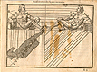 Woodcut illustration of two nude male anatomical figures reclining on small pediments, viewed from the sides, both images in identical poses facing each other with left hands uplifted with hands open, both images showing the proportions of the figure measured out, from Jehan Cousin's Livre de pourtraiture, NLM Call no.: WZ 250 C8673L 1608.