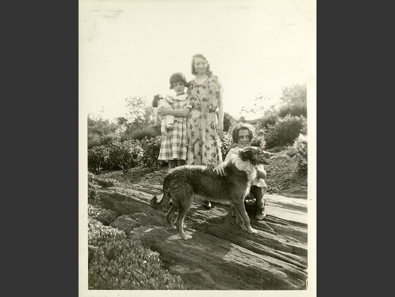 Three sisters in dresses with a dog outside on a rock, shrubs in background.