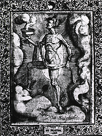 A male figure with wings on his head, wrists, and ankles; he is holding a bowl which is emitting gaseous fumes.