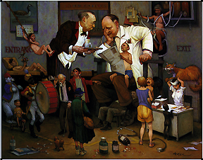 Doctor surrounded by a family with butler serving him some liquid. Copyright: This image may not be saved locally, modified, reproduced, or distributed by any other means without the written permission of the copyright owners.