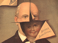 Advertisement with an illustration of a man cut away to show a little boy beneath.