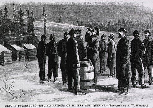 Civil war soldiers in winter are standing drinking from a barrel whiskey and quinine.