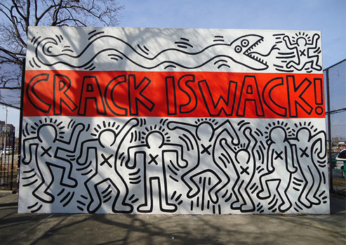Exhibition cocaine for Crack is wack mural