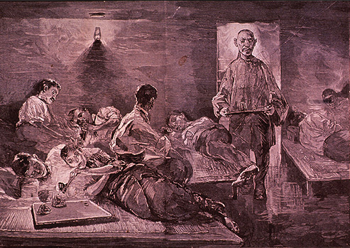 A group of people lounging in various states of intoxication while a Chinese man serving them opium.