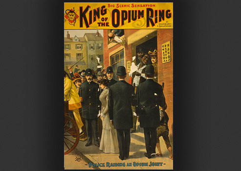 Advertisement of a police raid on an opium den.