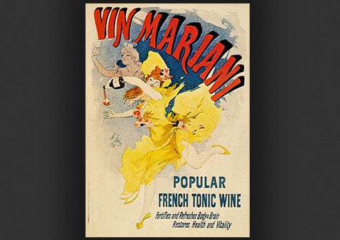 Advertisement with illustration of a woman in a yellow dress dancing while pouring a drink.