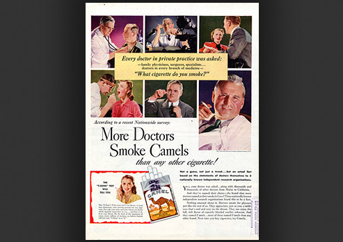 Advertisement showing doctors and their patients smoking, with a pack of cigarettes in the foreground.