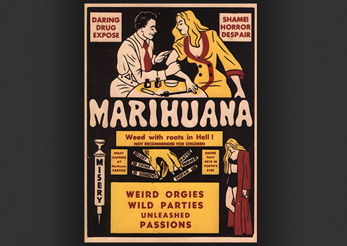 Advertisement with an illustration of a man injecting a woman with a chemical and the pitfalls of drug usage.