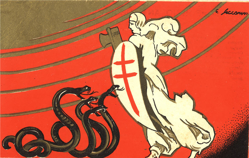 A woman in white carrying a shield and axe (fasces), in front of four hissing black snakes.