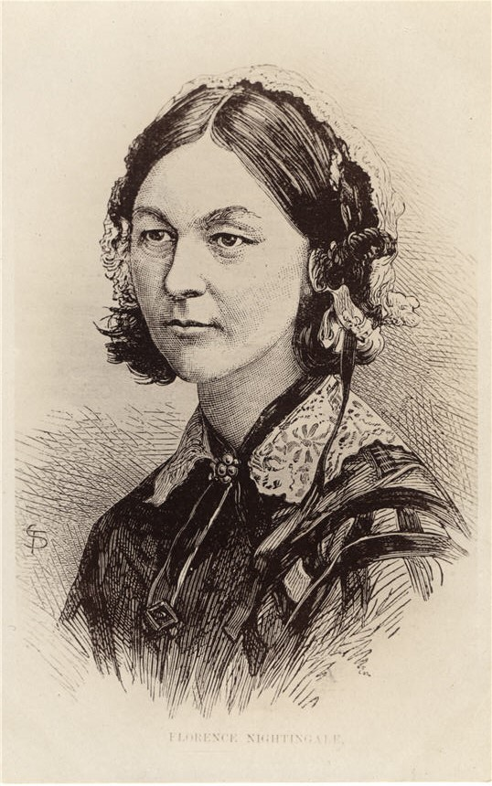 Bust of a White woman (Florence Nightingale). She is looking slightly to the left, unsmiling.