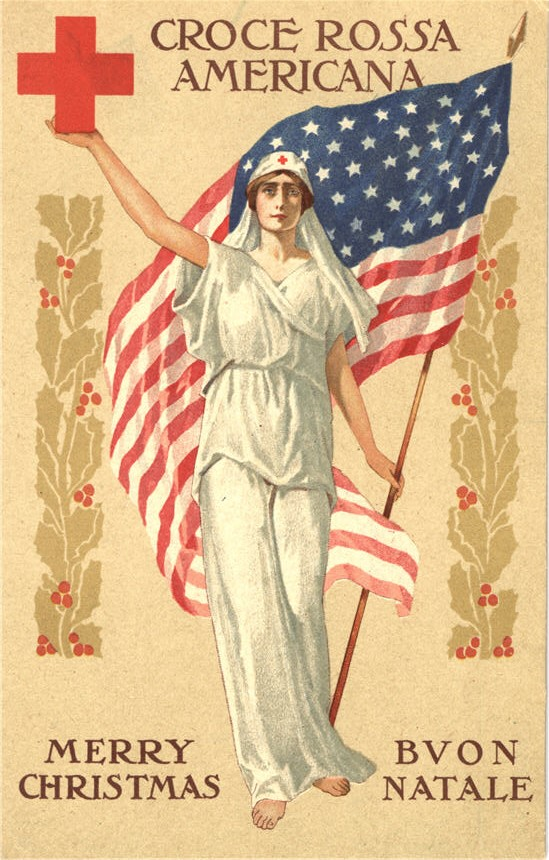 A White female nurse wearing white Classical clothing holds the American flag and Red Cross symbol.