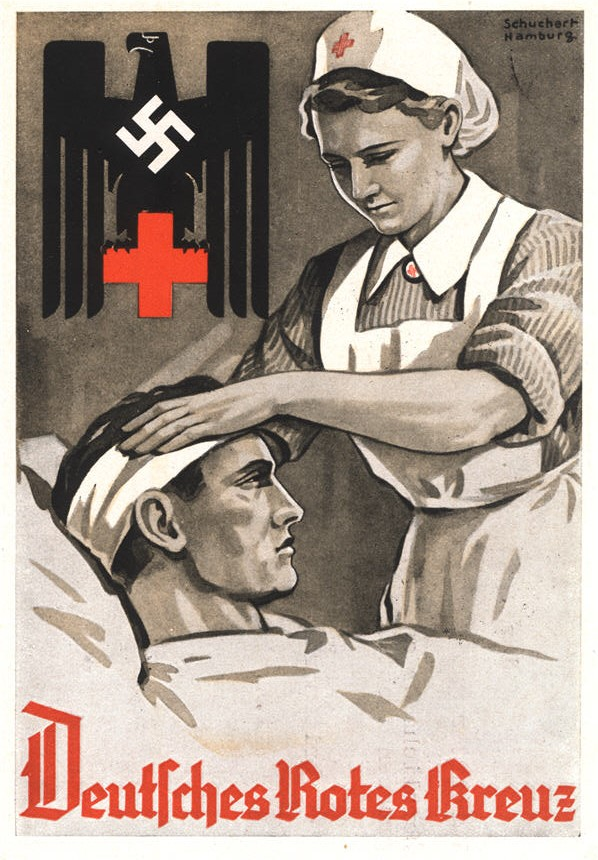 A White female nurse bandaging the head of a wounded White male soldier in a bed.