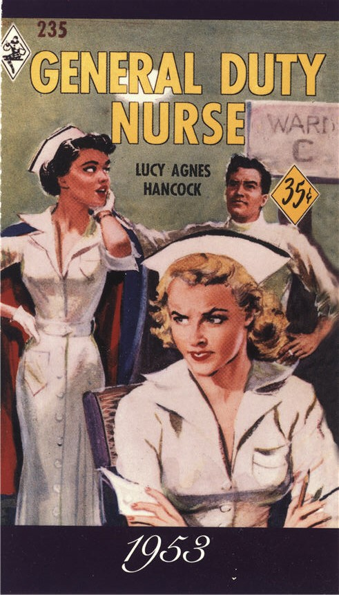 A White female nurse scowls, while another White female nurse swoons at a White male support staff.