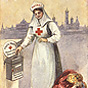 A White female nurse putting a coin into a box. Jewels and clothing sit in a basket by her feet.