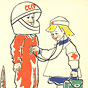 A White girl dressed as a nurse listening to the heartbeat of a White boy in space suit.