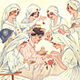 A White male soldier in a hospital bed, surrounded by 6 White female nurses, all tending to him.