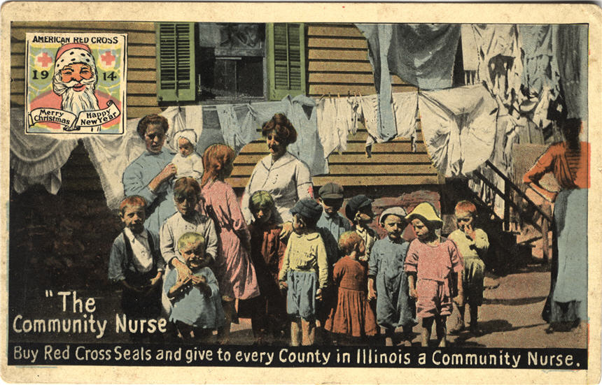 A White female community nurse outside a house surrounded by White children and women.