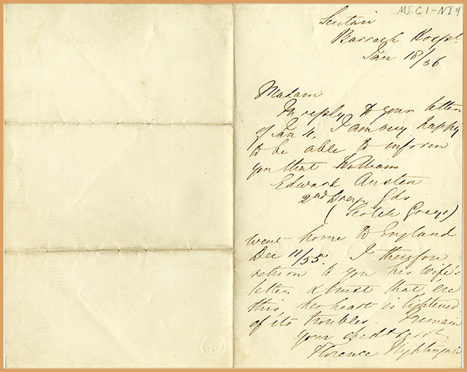 front of letter dated January 18, 1856