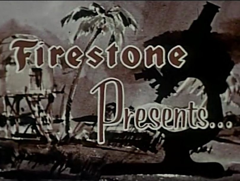 "Title card showing the words ""Firestone Presents"""