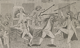 Picture of men in 18th century dress fighting