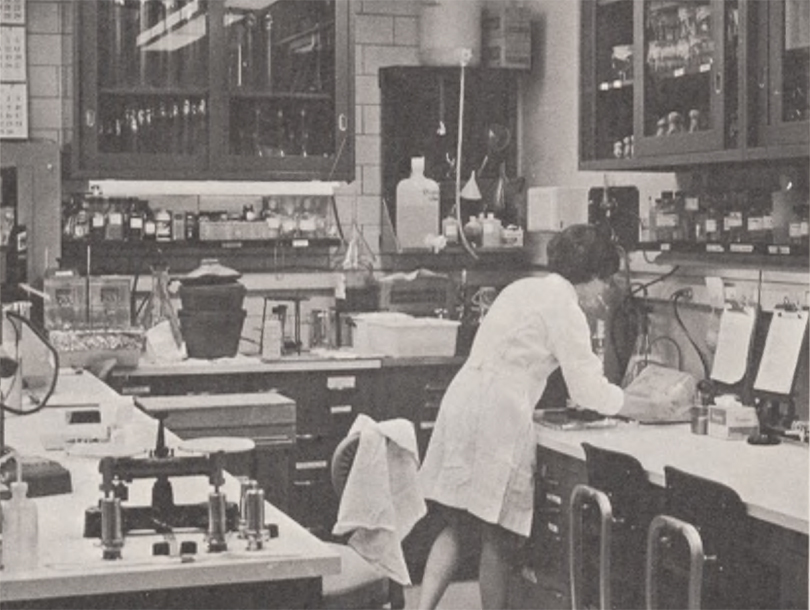 A photo of a person in a lab