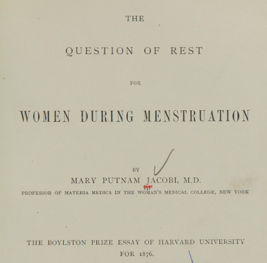 Title page of a book by Dr. Mary Putnam Jacobi.
