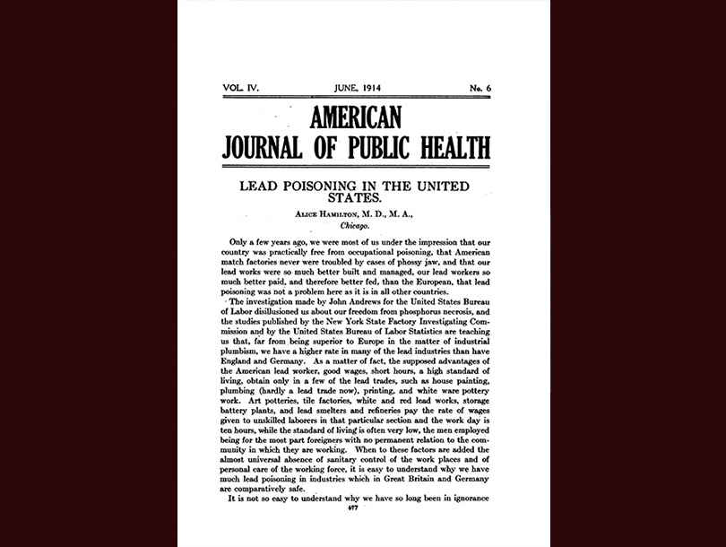 Title page of an article by Dr. Alice Hamilton.