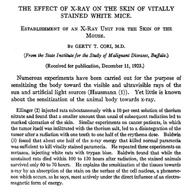 Title page of an article by Dr. Gerty T. Cori.