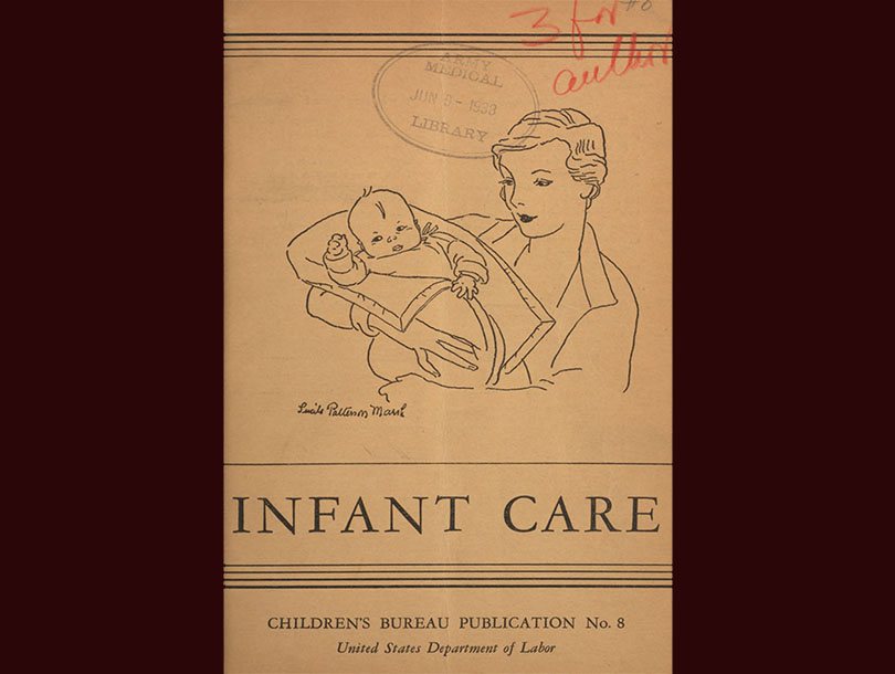 Title page of a book by Dr. Eliot with a sketch of a woman holding an infant in a blanket.