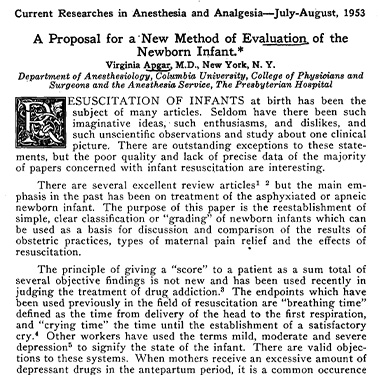 Title page of an article by Dr. Virginia Apgar.