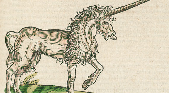 Illustration of a long horned unicorn prancing.