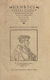 Title page of book with text and portrait of a man in a robe.