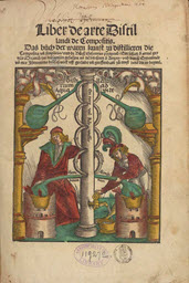 Title page of book with text and image of two men pumping liquid from a column-like structure.