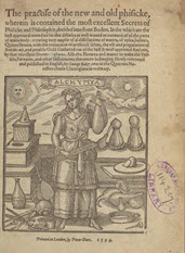Title page of book with text and an image of a woman with distillation apparatus.