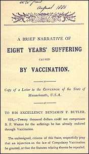 The opening page of A Brief narrative of eight years' suffering caused by vaccination by Homer Bartlett Weston. The second line says Copy of a letter to the Governor of the State of Massachusetts, U.S.A.