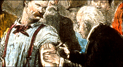 Detail of a physician as he vaccinates the tattooed left arm of a burly young man.