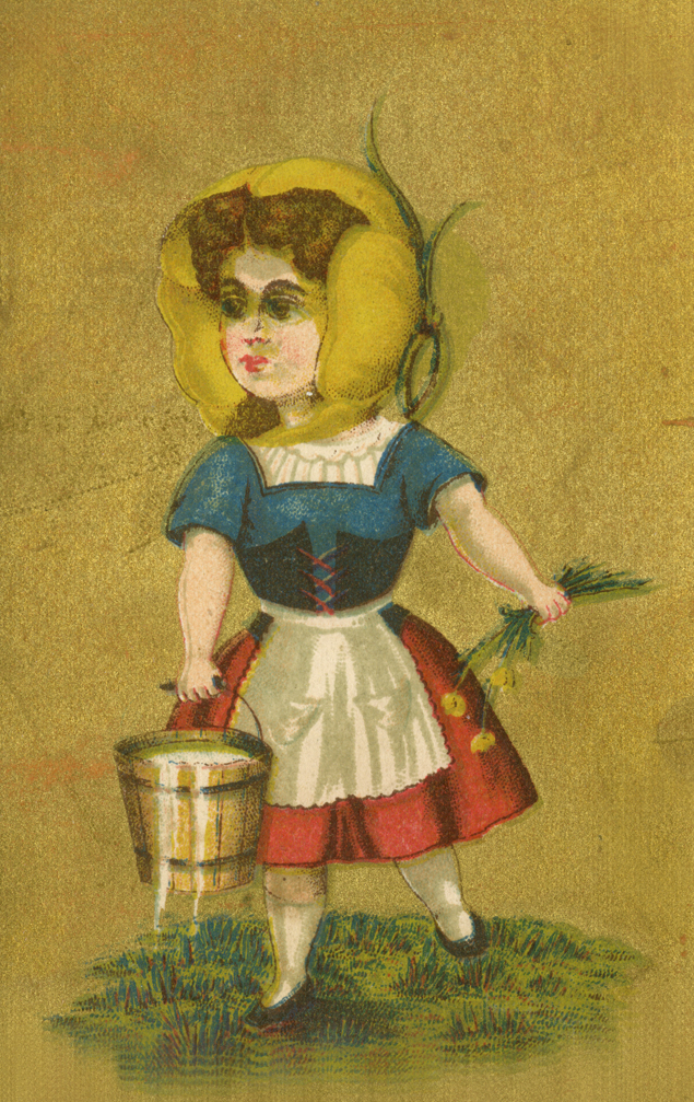 A yellow poppy encloses a milkmaid's head on this trade card.