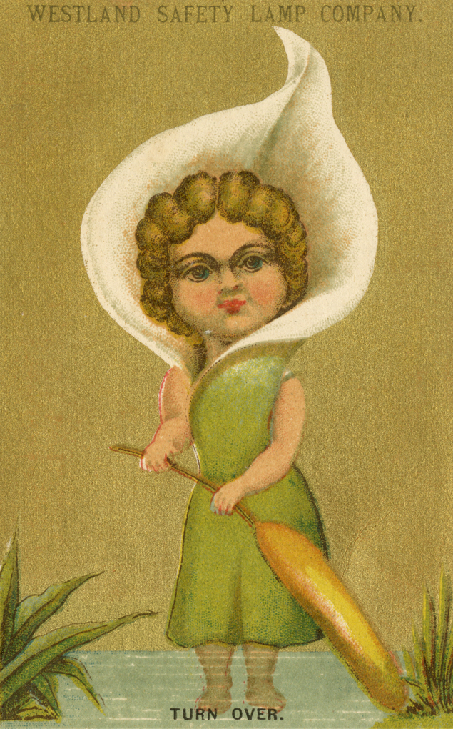 Girl in green dress stands by a pond. A white lily petals surrounds her head.