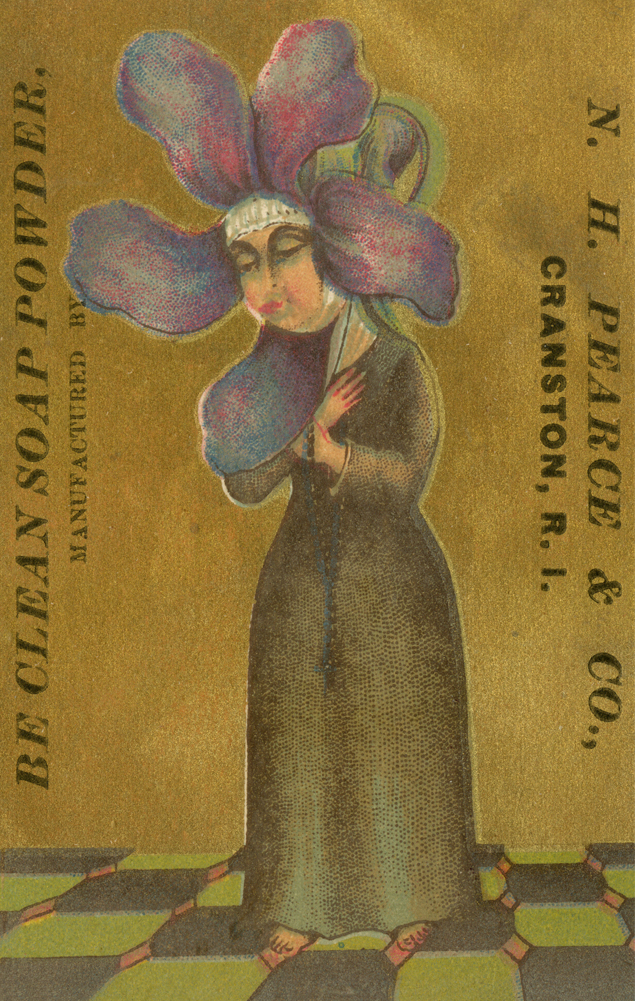 A wild geranium extends from the downcast head of a nun on this trade card for a soap powder.