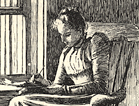 Woman sitting in a chair by a window reading.
