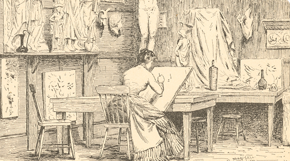 Illustration of a woman drawing at a desk in a room filled with art.